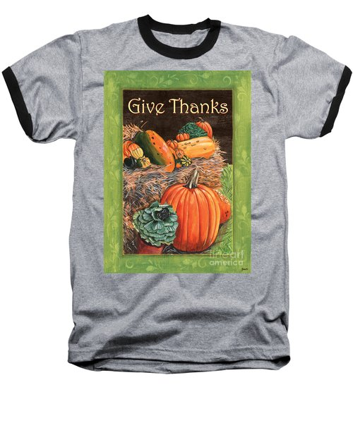 Give Thanks Baseball T-Shirt by Debbie DeWitt