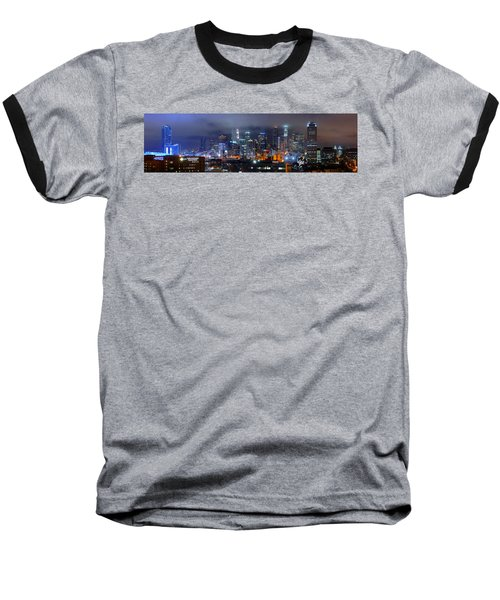 Gotham City - Los Angeles Skyline Downtown At Night Baseball T-Shirt by Jon Holiday