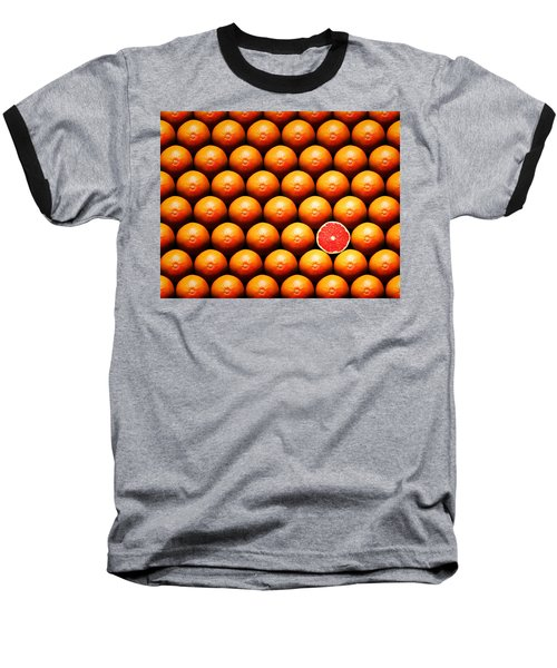 Grapefruit Slice Between Group Baseball T-Shirt by Johan Swanepoel