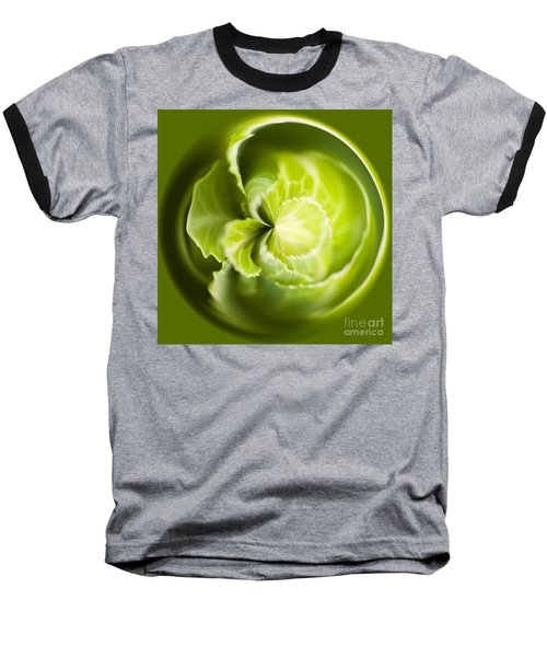 Green Cabbage Orb Baseball T-Shirt by Anne Gilbert