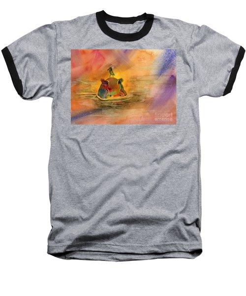 Hippo Birdie Baseball T-Shirt by Amy Kirkpatrick
