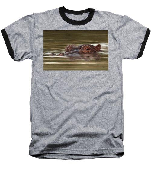 Hippo Painting Baseball T-Shirt by Rachel Stribbling