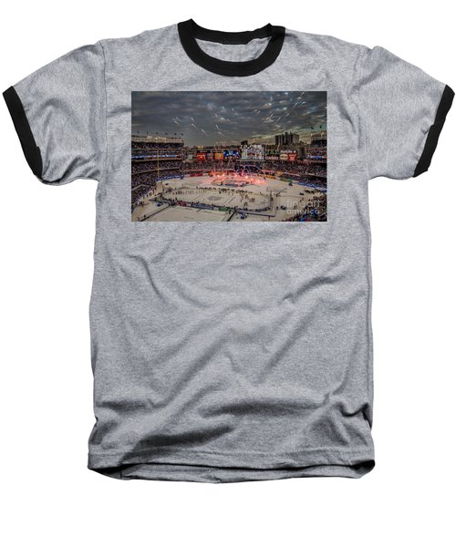 Hockey At Yankee Stadium Baseball T-Shirt by David Rucker