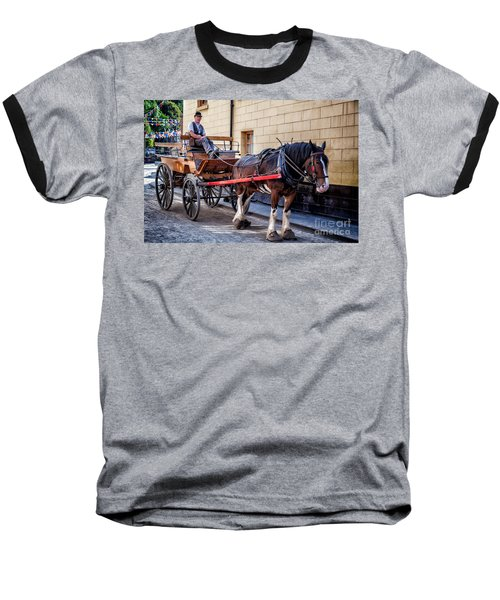 Horse And Cart Baseball T-Shirt by Adrian Evans