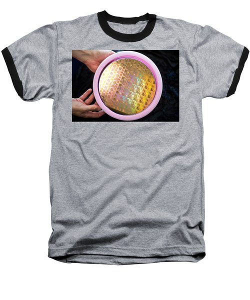 Baseball T-Shirt featuring the photograph Integrated Circuits On Silicon Wafer by Science Source
