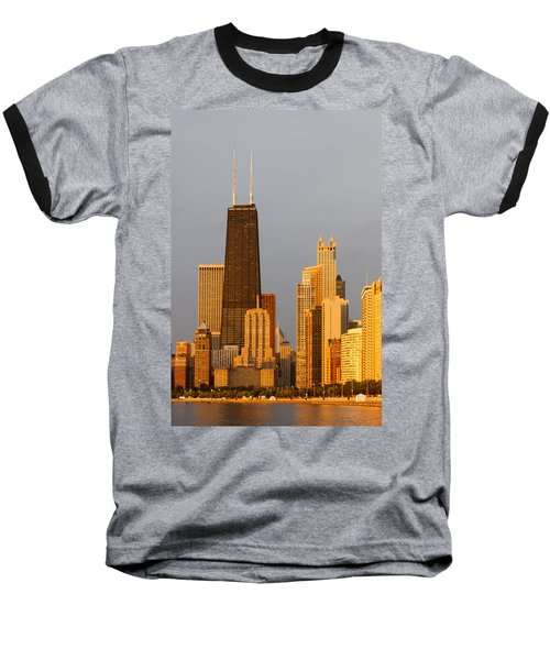 John Hancock Center Chicago Baseball T-Shirt by Adam Romanowicz