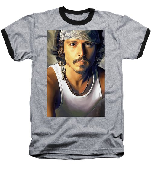 Johnny Depp Artwork Baseball T-Shirt by Sheraz A