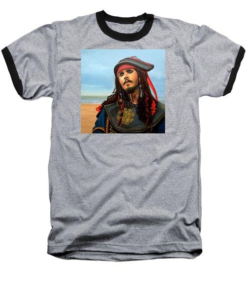 Johnny Depp As Jack Sparrow Baseball T-Shirt by Paul Meijering