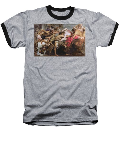 Lapiths And Centaurs Oil On Canvas Baseball T-Shirt by Peter Paul Rubens
