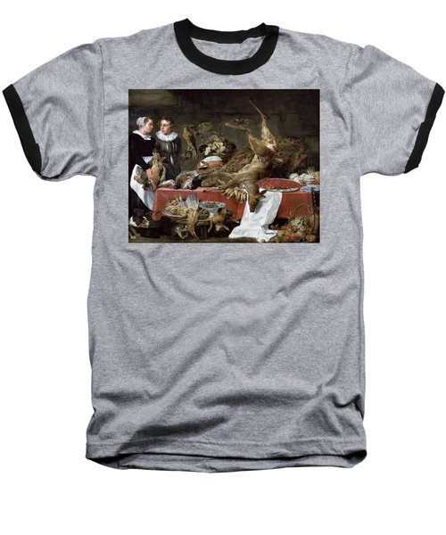 Le Cellier Oil On Canvas Baseball T-Shirt by Frans Snyders or Snijders