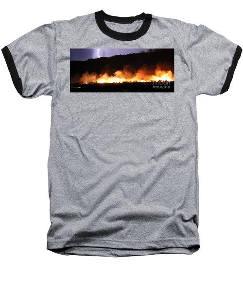 Baseball T-Shirt featuring the photograph Lightning During Wildfire by Bill Gabbert