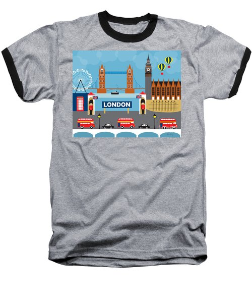 London England Skyline By Loose Petals Baseball T-Shirt by Karen Young