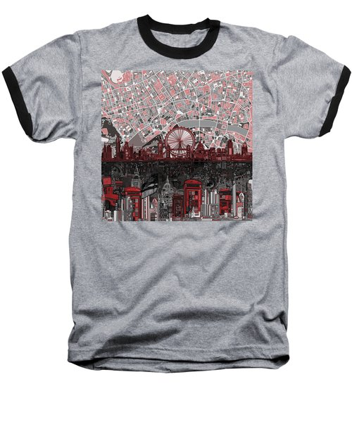 London Skyline Abstract 6 Baseball T-Shirt by Bekim Art