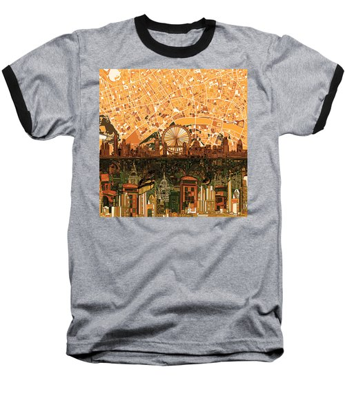 London Skyline Abstract 7 Baseball T-Shirt by Bekim Art
