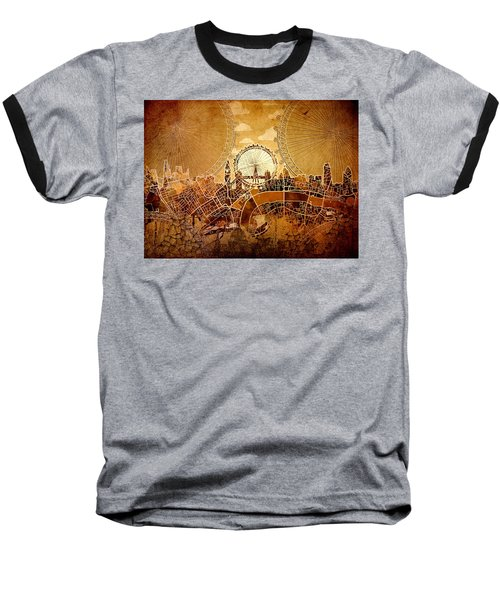 London Skyline Old Vintage  Baseball T-Shirt by Bekim Art