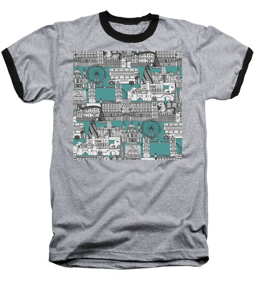 London Toile Blue Baseball T-Shirt by Sharon Turner