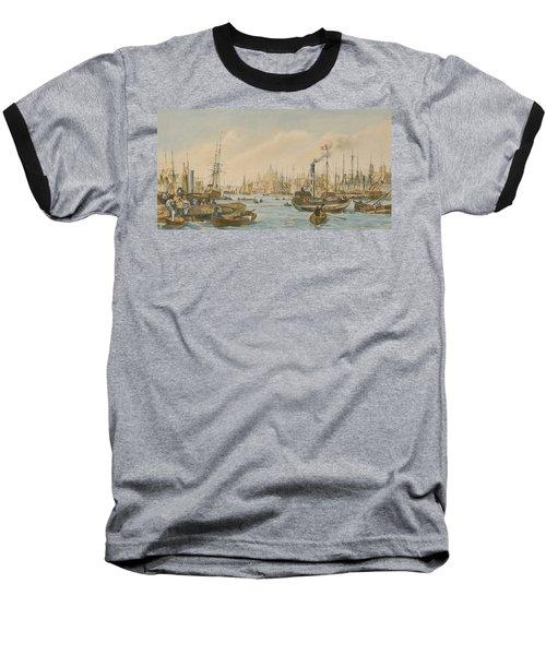 Looking Towards London Bridge Baseball T-Shirt by William Parrot