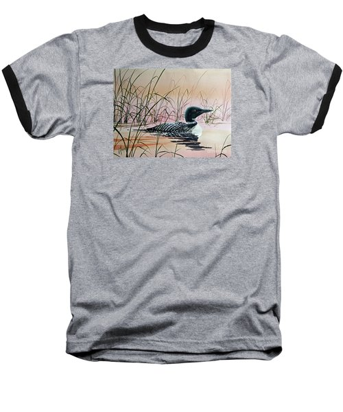 Loon Sunset Baseball T-Shirt by James Williamson