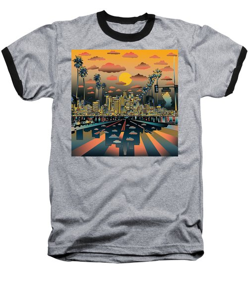 Los Angeles Skyline Abstract 2 Baseball T-Shirt by Bekim Art