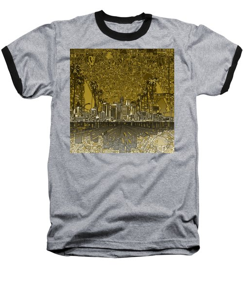 Los Angeles Skyline Abstract 4 Baseball T-Shirt by Bekim Art