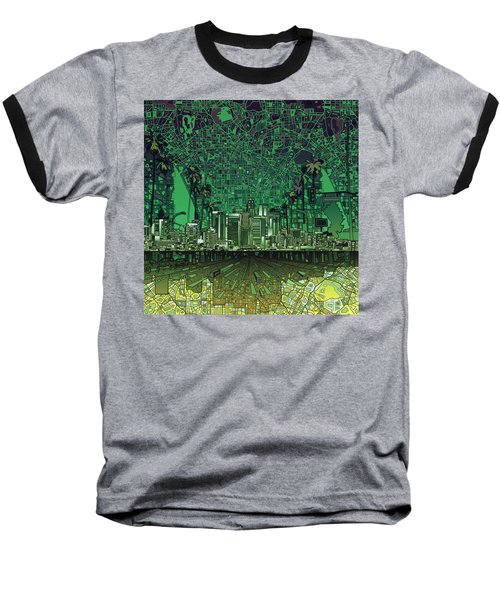 Los Angeles Skyline Abstract 6 Baseball T-Shirt by Bekim Art