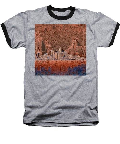 Los Angeles Skyline Abstract 7 Baseball T-Shirt by Bekim Art