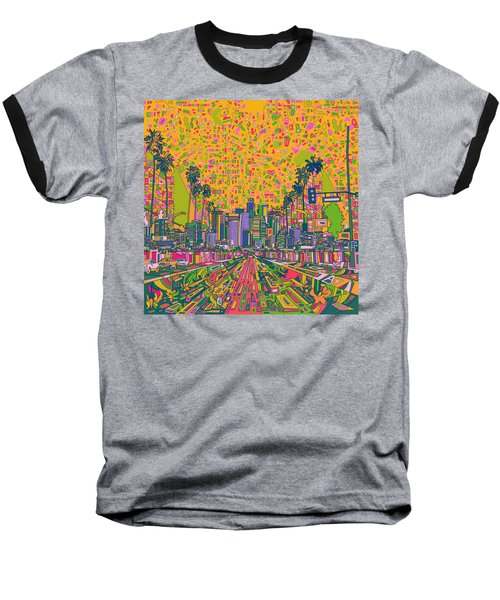 Los Angeles Skyline Abstract Baseball T-Shirt by Bekim Art