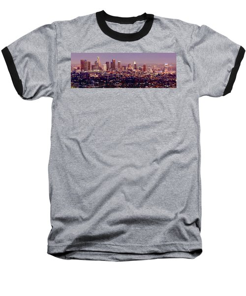 Los Angeles Skyline At Dusk Baseball T-Shirt by Jon Holiday