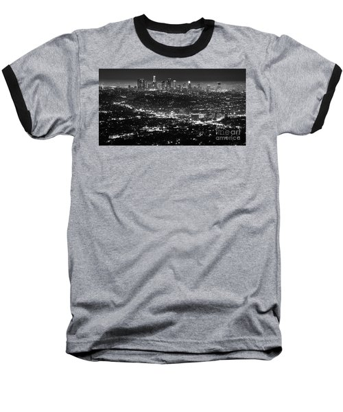 Los Angeles Skyline At Night Monochrome Baseball T-Shirt by Bob Christopher