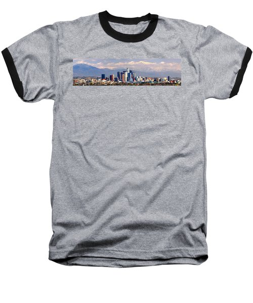 Los Angeles Skyline With Mountains In Background Baseball T-Shirt by Jon Holiday