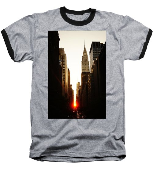 Manhattanhenge Sunset And The Chrysler Building  Baseball T-Shirt by Vivienne Gucwa