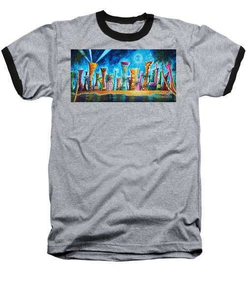 Miami City South Beach Original Painting Tropical Cityscape Art Miami Night Life By Madart Absolut X Baseball T-Shirt by Megan Duncanson
