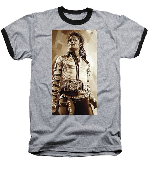 Michael Jackson Artwork 2 Baseball T-Shirt by Sheraz A