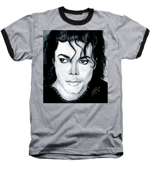 Michael Jackson Portrait Baseball T-Shirt by Alban Dizdari