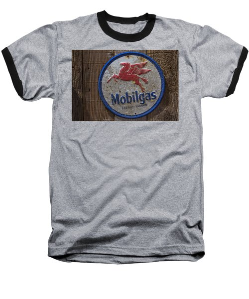 Mobil Gas Sign Baseball T-Shirt by Garry Gay