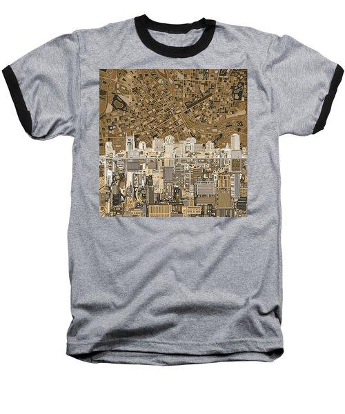 Nashville Skyline Abstract 2 Baseball T-Shirt by Bekim Art