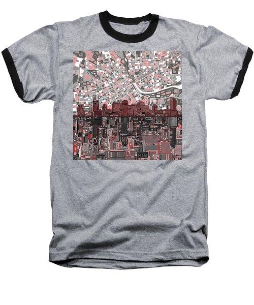Nashville Skyline Abstract 3 Baseball T-Shirt by Bekim Art