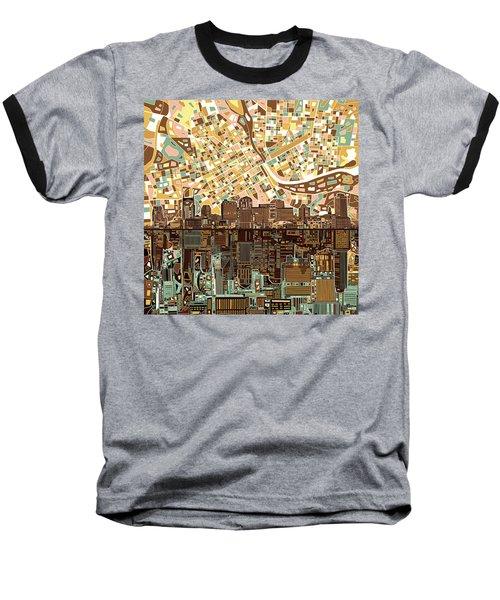 Nashville Skyline Abstract 4 Baseball T-Shirt by Bekim Art