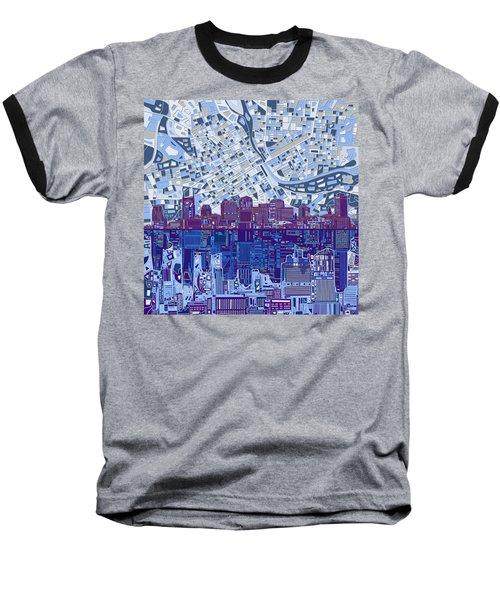 Nashville Skyline Abstract 8 Baseball T-Shirt by Bekim Art