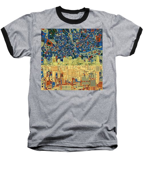 Nashville Skyline Abstract 9 Baseball T-Shirt by Bekim Art