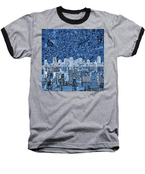 Nashville Skyline Abstract Baseball T-Shirt by Bekim Art