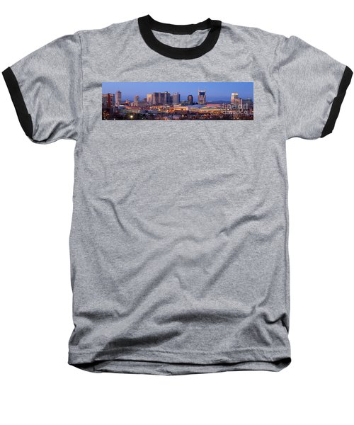 Nashville Skyline At Dusk Panorama Color Baseball T-Shirt by Jon Holiday