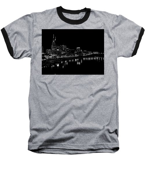 Nashville Skyline At Night In Black And White Baseball T-Shirt by Dan Sproul