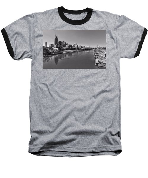 Nashville Skyline In Black And White At Day Baseball T-Shirt by Dan Sproul