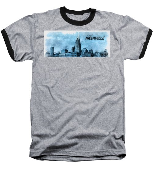 Nashville Tennessee In Blue Baseball T-Shirt by Dan Sproul