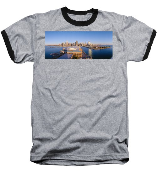 Navy Pier, Chicago, Morning, Illinois Baseball T-Shirt by Panoramic Images