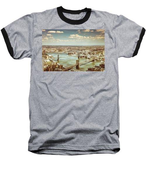 New York City - Brooklyn Bridge And Manhattan Bridge From Above Baseball T-Shirt by Vivienne Gucwa