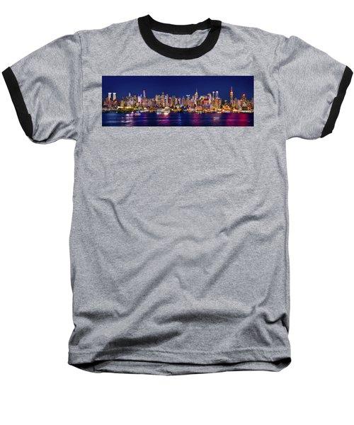 New York City Nyc Midtown Manhattan At Night Baseball T-Shirt by Jon Holiday