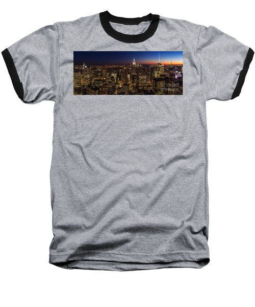 New York City Skyline At Dusk Baseball T-Shirt by Mike Reid