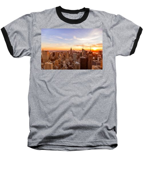 New York City - Sunset Skyline Baseball T-Shirt by Vivienne Gucwa